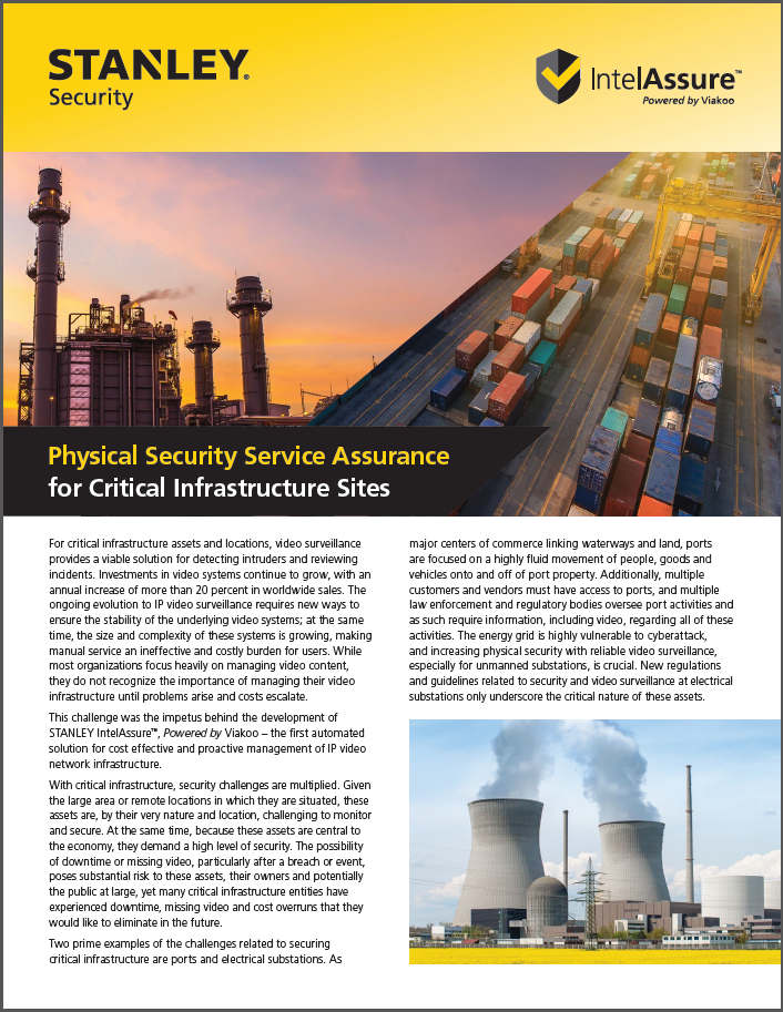 STANLEY IntelAssure for Critical Infrastructure