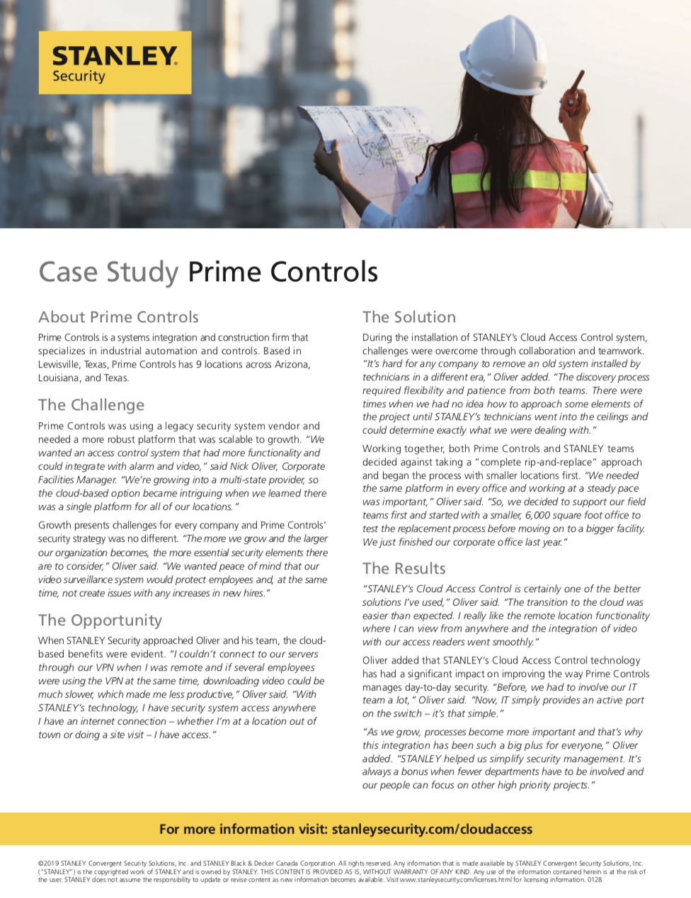 Learn how Prime Controls benefited from STANLEY Security Cloud-based access control